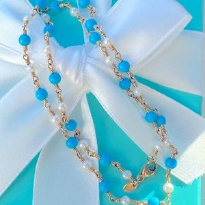 Tiffany & Co. 18k Turquoise Pearl Twist Necklace